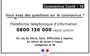 CORONAVIRUS COVID-19 : Le point sur la situation